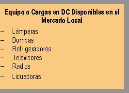 Equipos DC para mercado local